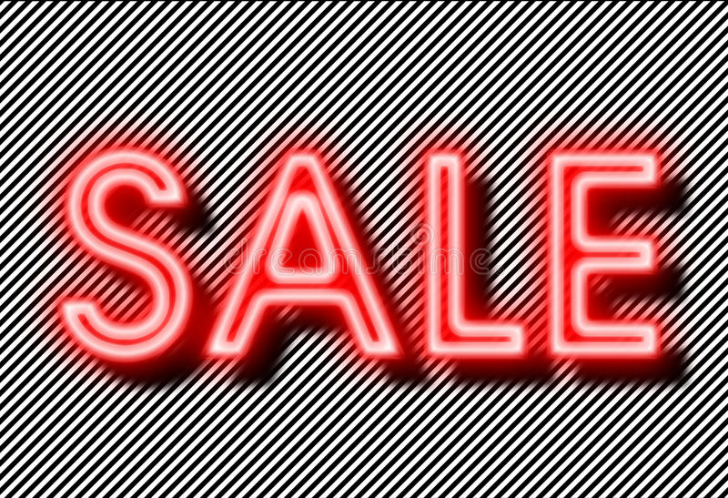 Sale sign neon on strips background stock photo