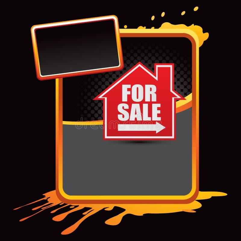 For sale sign on orange splattered advertisement. Orange splattered banner template with a for sale sign royalty free illustration