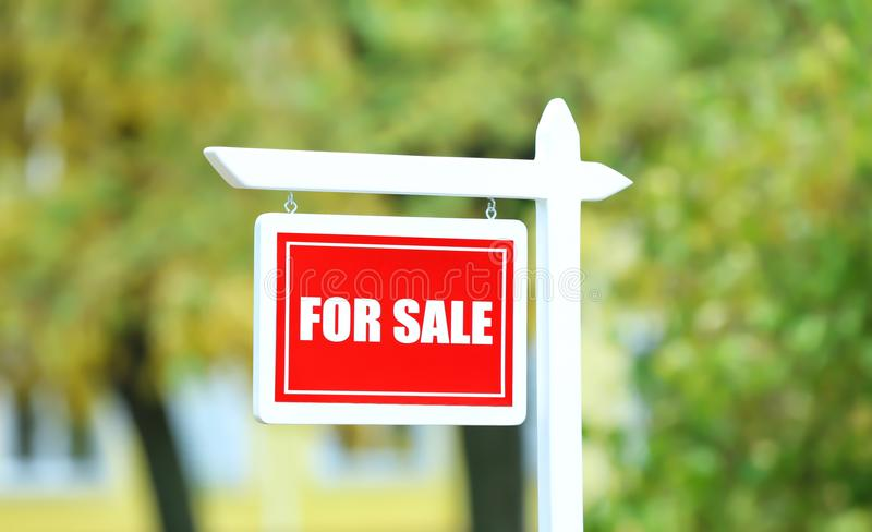 `For sale` sign outdoors. `For sale` sign out doors stock photos
