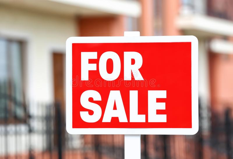 `For sale` sign outdoors. `For sale` sign out doors royalty free stock photos