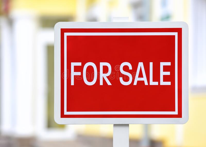 `For sale` sign outdoors. `For sale` sign out doors royalty free stock photography