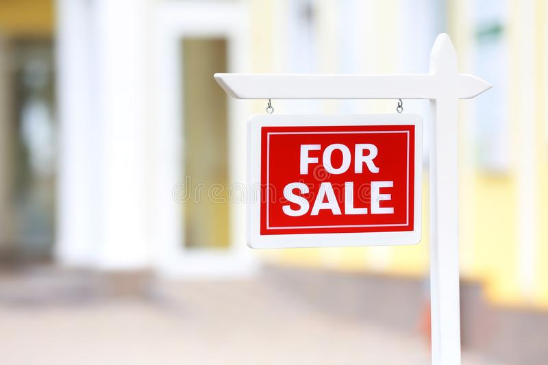 `For sale` sign outdoors. `For sale` sign out doors stock image