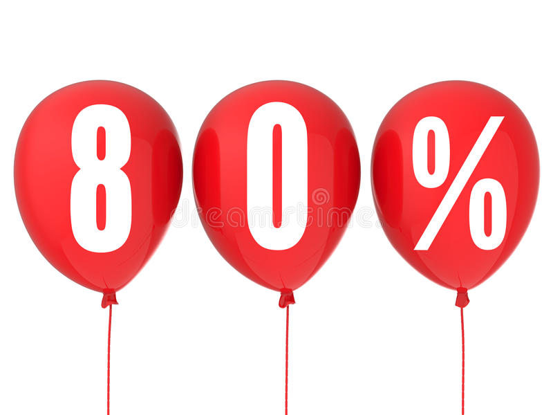 80% sale sign on red balloons royalty free stock photos