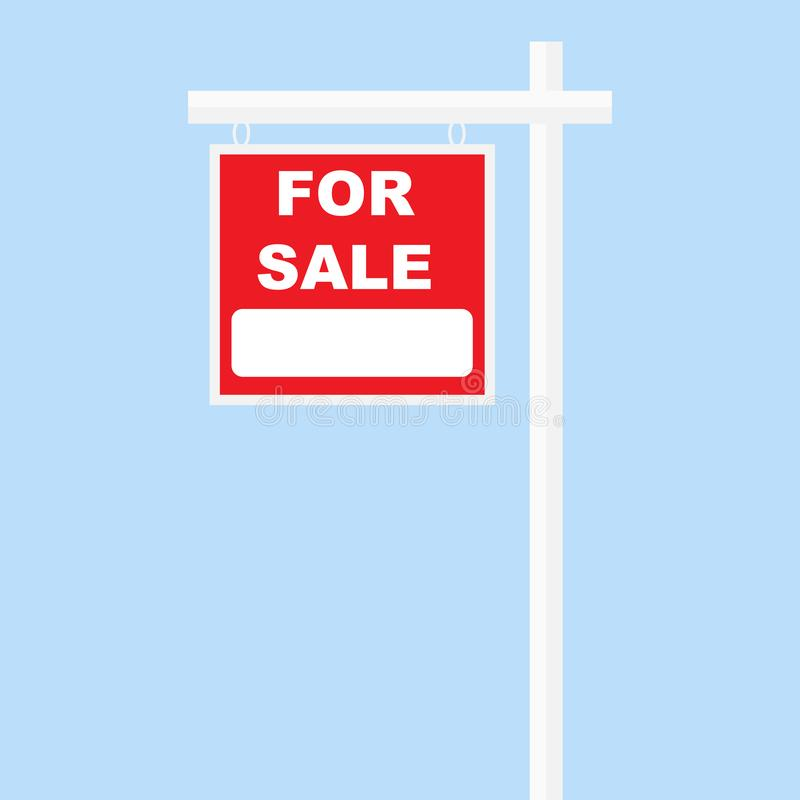 For sale sign red board white pillar vector illustration