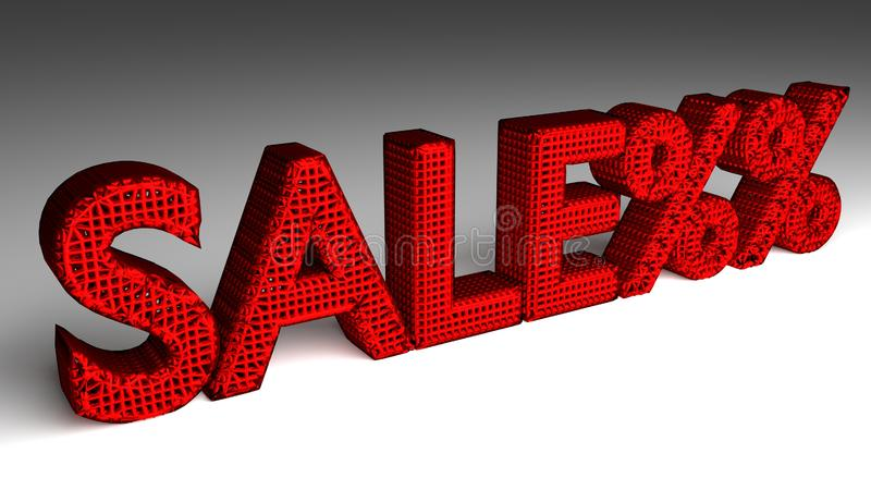 SALE%% sign in red and glossy letters royalty free illustration