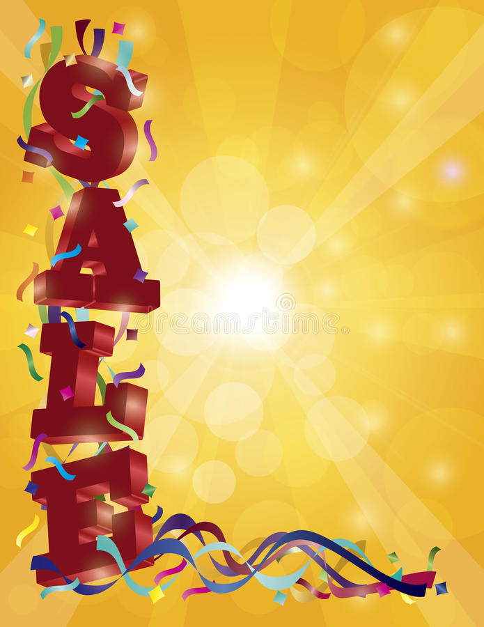 SALE Sign with Ribbons Confetti and Sun Rays vector illustration