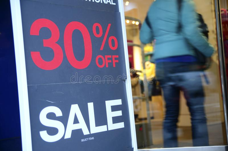 On Sale Sign At The Store Front Royalty Free Stock Photography
