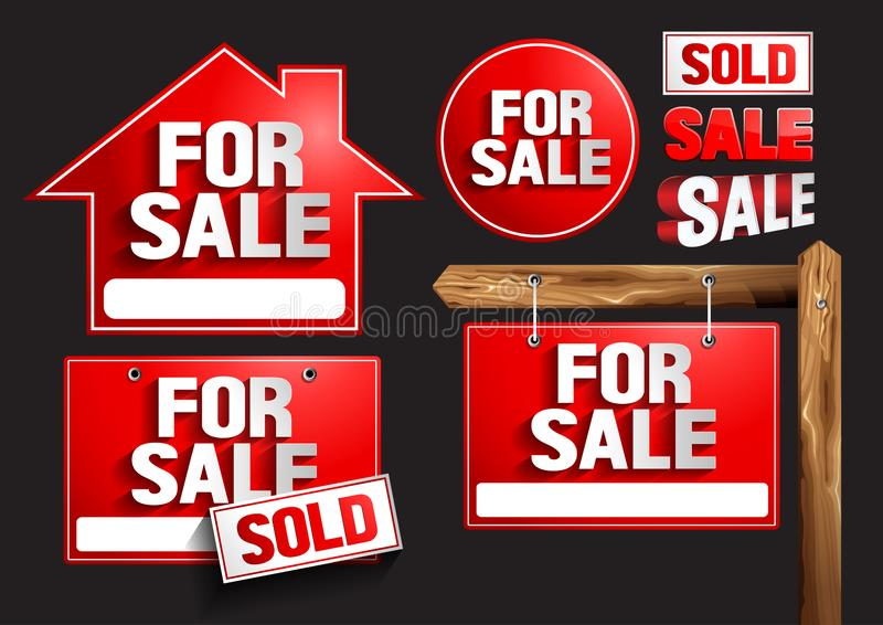 For sale Signs Symbols. For sale sign, vector illustration, you can place relevant content on the area royalty free illustration