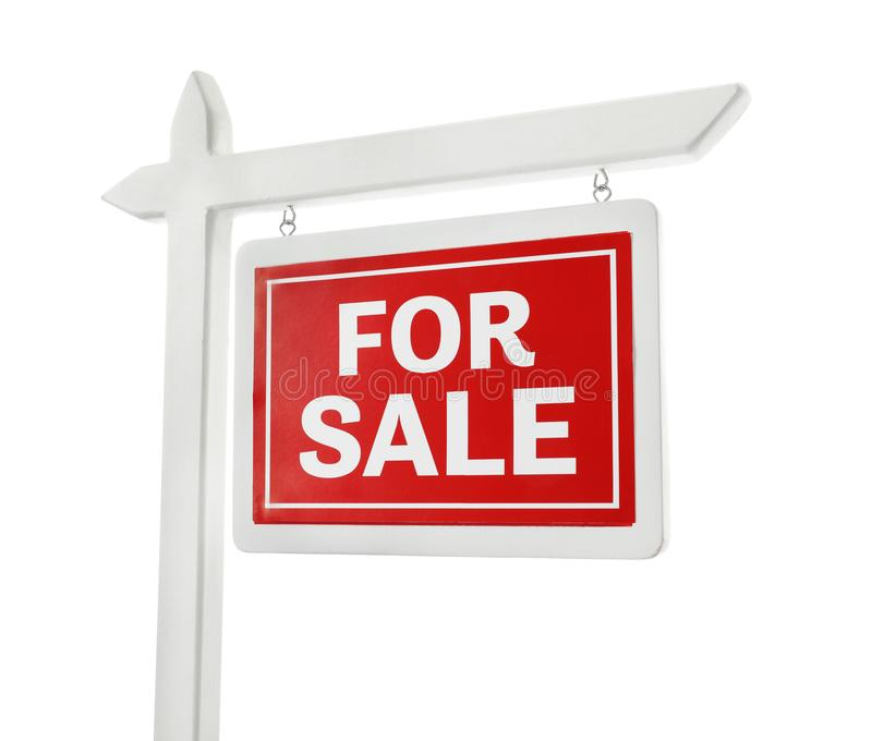 `For sale` sign. On white background stock photos