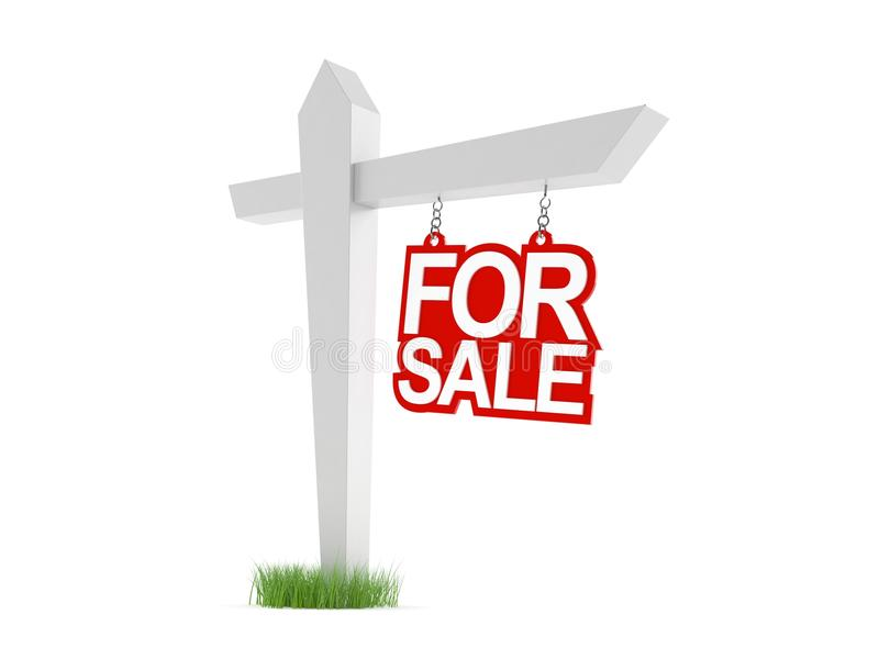 For sale sign. On white background royalty free illustration