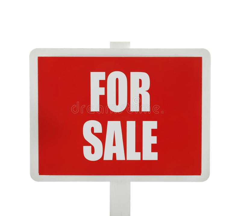 `For sale` sign on white background stock photos