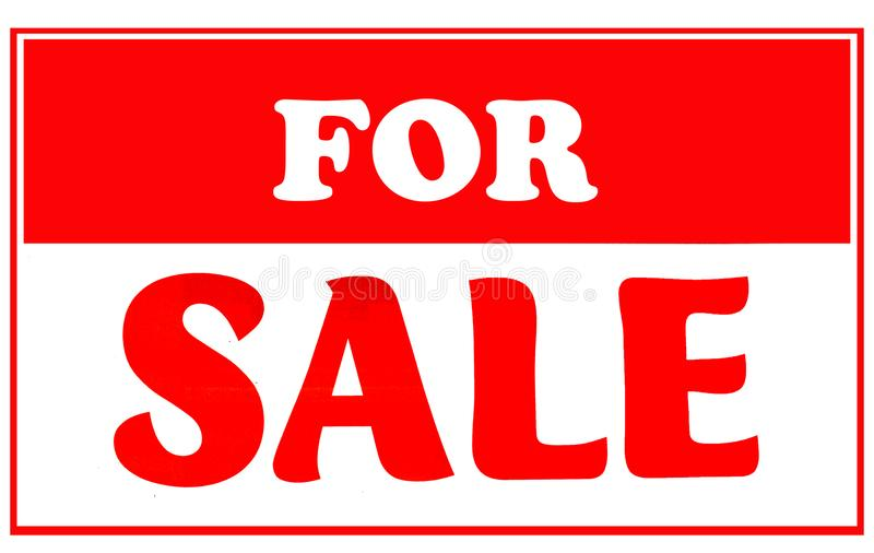 Red and White For Sale Sign stock image