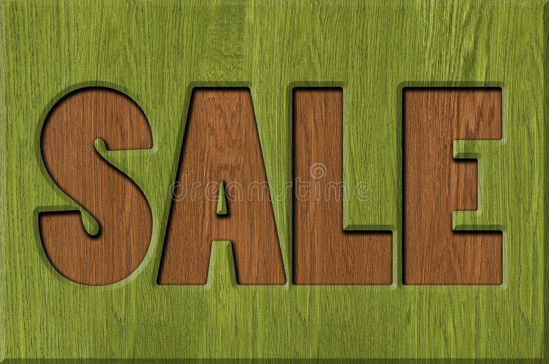 Sale signs. Background. carved in wood stock photo