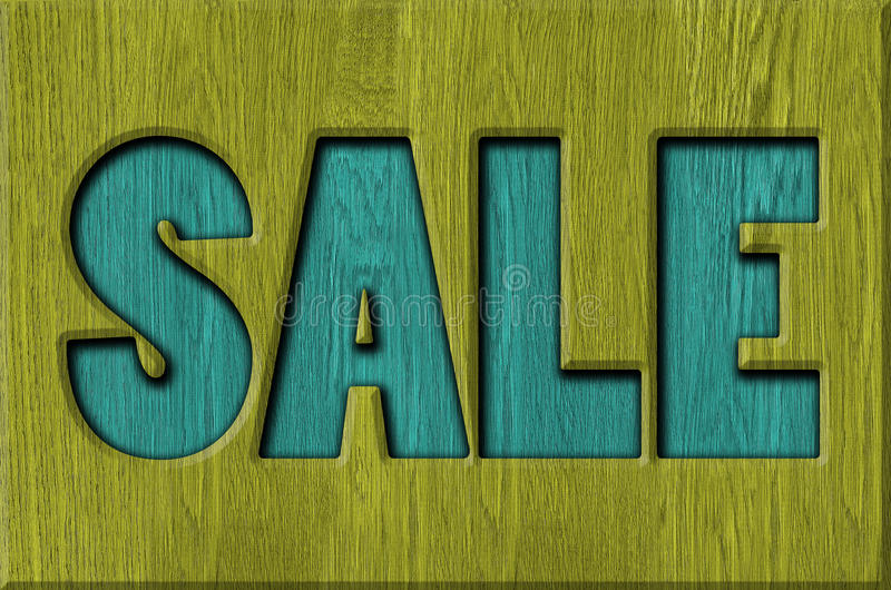 Sale signs. Background, wood texture stock illustration