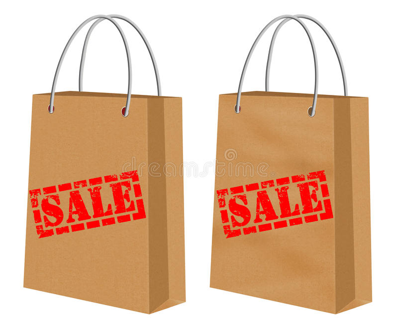 Sale signs on kraft shopping paper bags. Biodegradable Kraft shopping paper bags with stamped sale signs-one smooth the other creased or with chasms. Image vector illustration