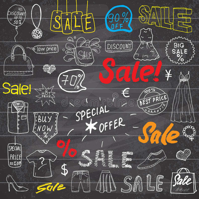 Sale signs and price discount tags, shopping associated symbols. Hand-Drawn set of design elements with hand written Lettering. V royalty free illustration