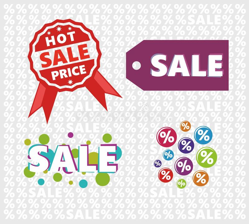 Sale signs set with tile background stock photography