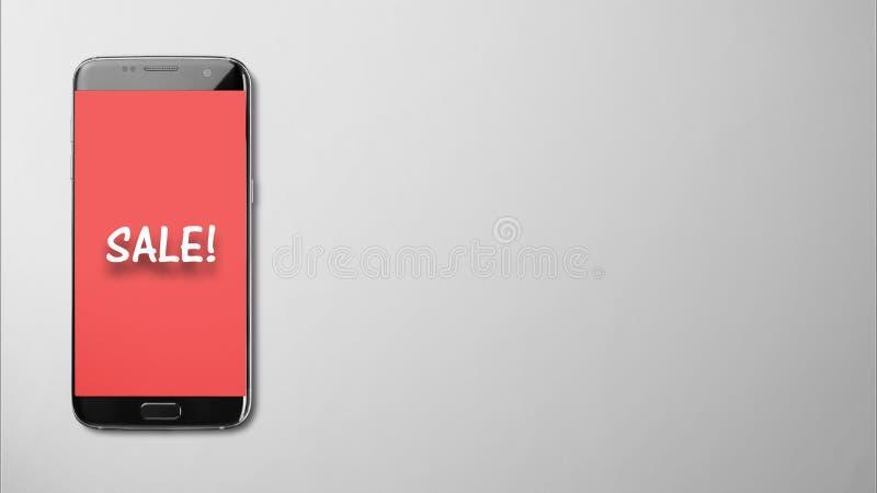 Sale skärm på röd bakgrund i den isolerade smartphonen på grått arkivfoton