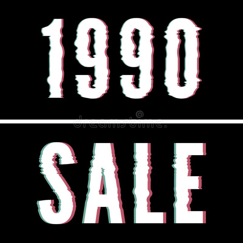 1990 Sale slogan, Holographic and glitch typography, tee shirt graphic, printed design royalty free stock photos
