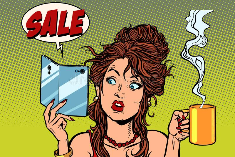 Sale. A smartphone with a foldable flexible display. Woman drinking coffee or tea. Comic cartoon pop art retro drawing illustration royalty free illustration