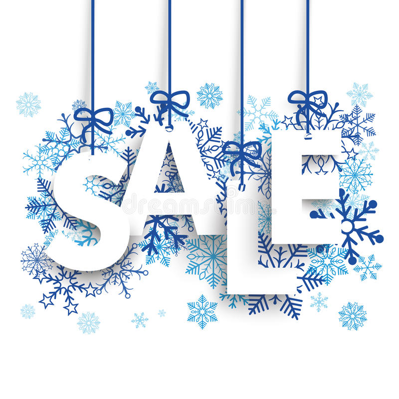 Sale Snowflakes Knots. Text Sale with blue snowflakes on the white background vector illustration