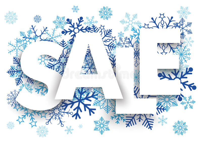 Sale Snowflakes. Sale letters with blue snowflakes on the white background vector illustration