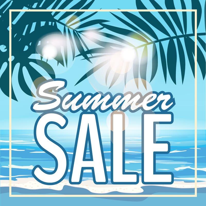 Sale sommarbaner, affisch med tropiska sidor, djungelblad Tropisk sommarbakgrund för hav Vektorillustration EPS10 vektor illustrationer