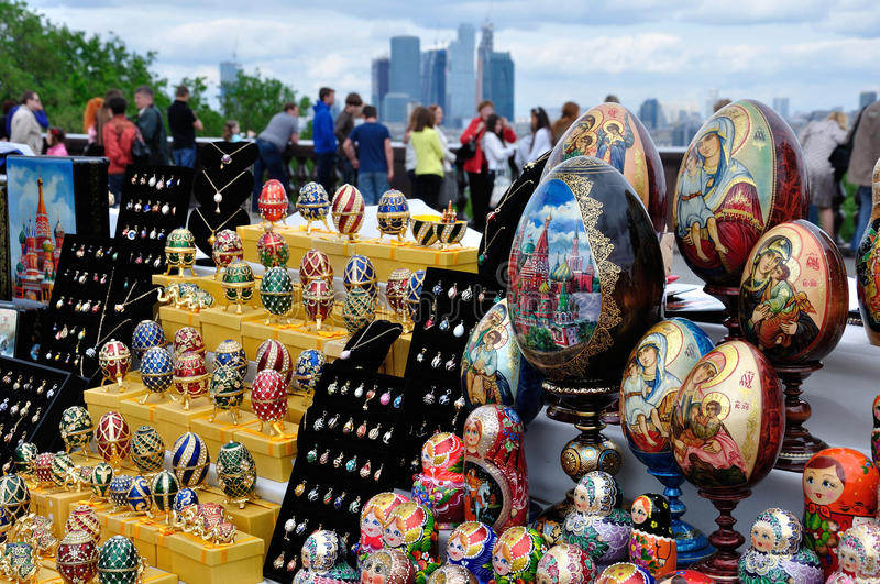 Sale  souvenirs on the Sparrow Hills in Moscow