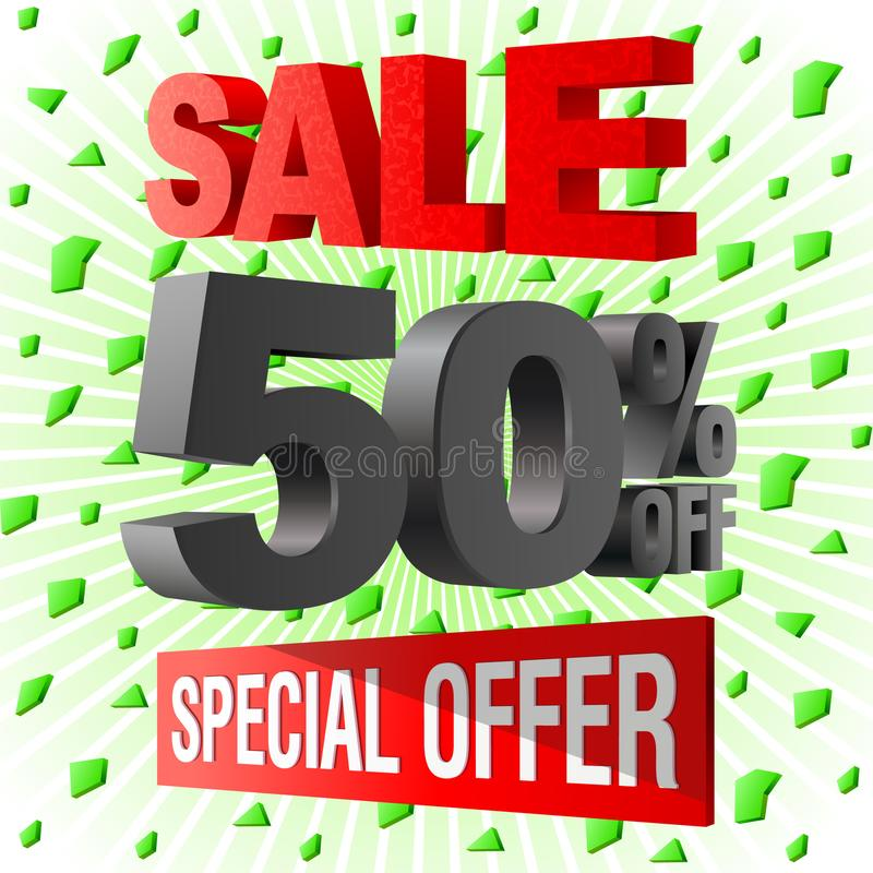 Sale special offer 3d advetising block. royalty free illustration