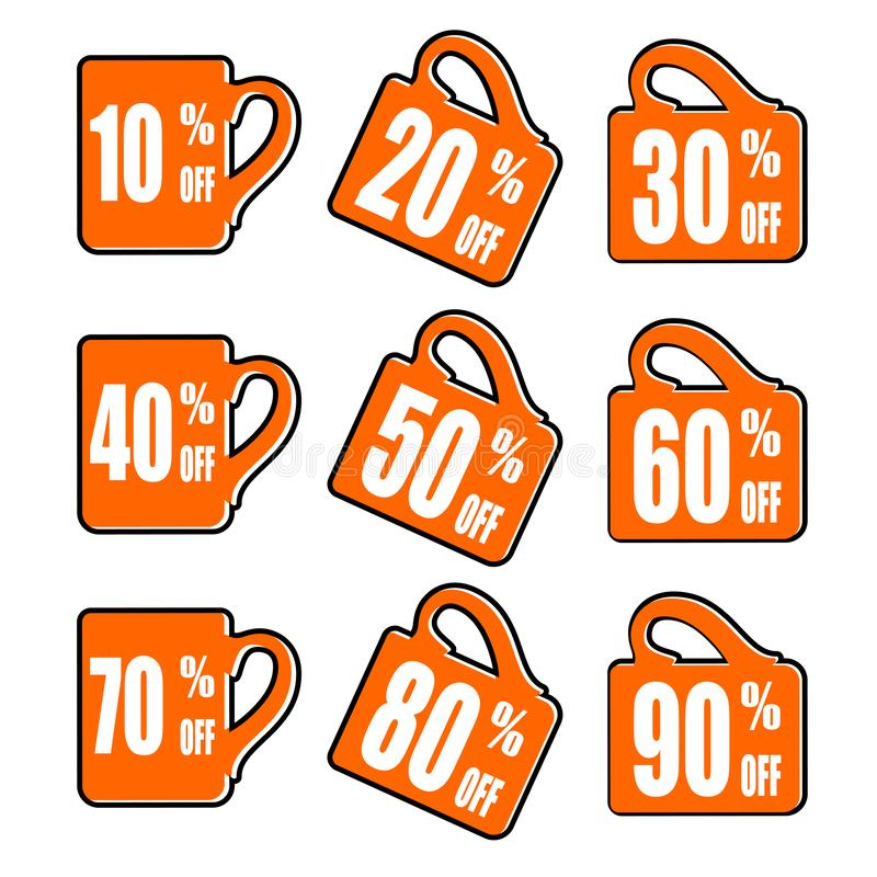 Sale of special offers. Discount with the various price. Set of sale tag. Promo tag discount offer layout cup, mug. Sale of special offers. Discount with the stock illustration