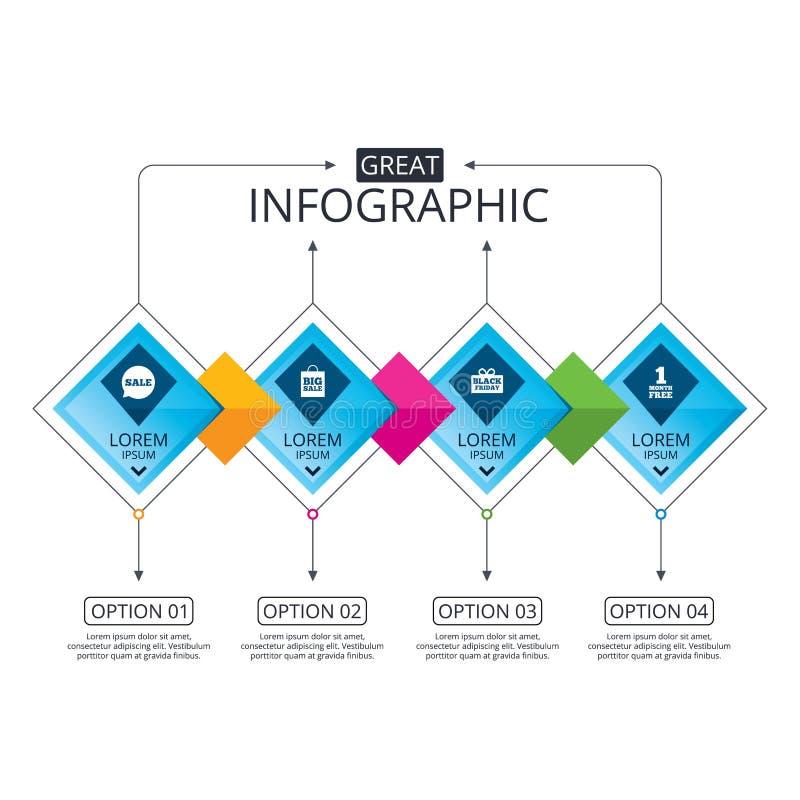 Sale speech bubble icon. Black friday symbol. Infographic flowchart template. Business diagram with options. Sale speech bubble icon. Black friday gift box vector illustration