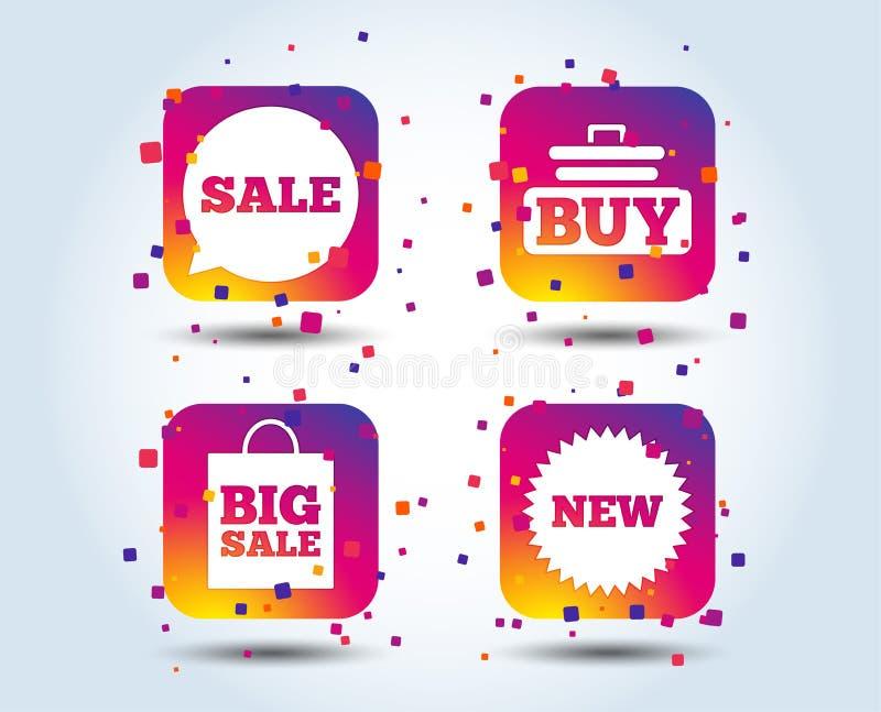 Sale speech bubble icon. Buy cart symbol. New star circle sign. Big sale shopping bag. Colour gradient square buttons. Flat design concept. Vector vector illustration