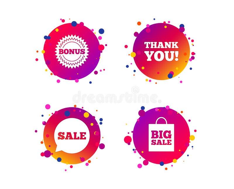 Sale speech bubble icon. Thank you symbol. Vector. Sale speech bubble icon. Thank you symbol. Bonus star circle sign. Big sale shopping bag. Gradient circle royalty free illustration