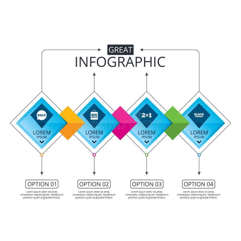 Sale speech bubble icons. Black friday symbol. Infographic flowchart template. Business diagram with options. Sale speech bubble icons. Two equals one. Black vector illustration