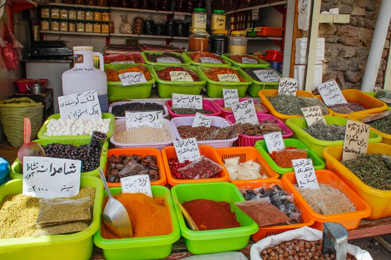 The sale of spices in the bazaars of Iran royalty free stock images