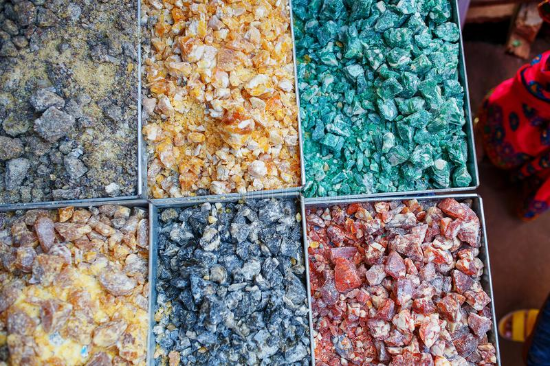 Sale of spices in the markets of Goa and other states stock images