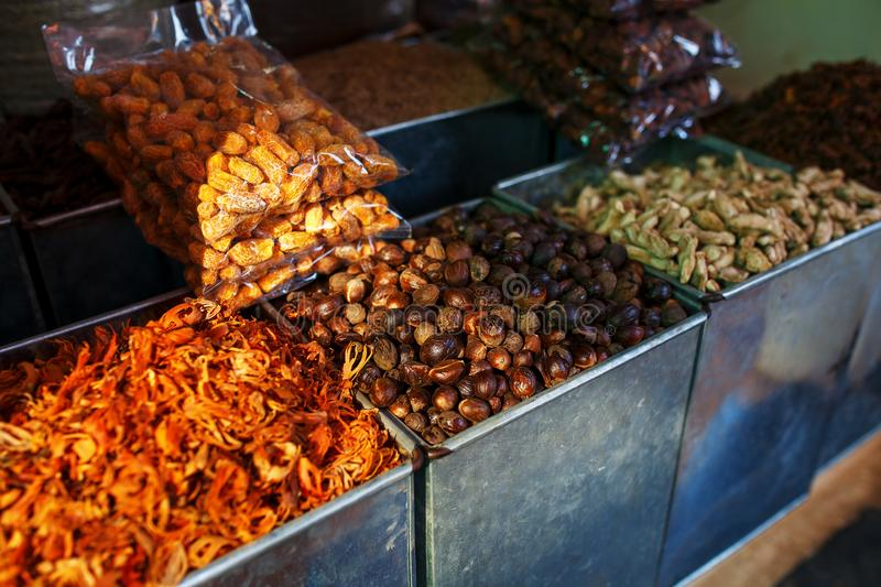 Sale of spices in the markets of Goa and other states royalty free stock photo