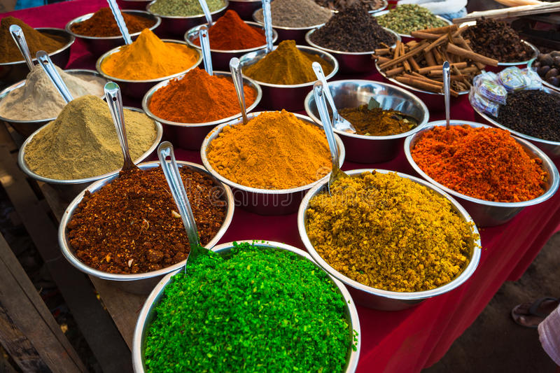 Sale of spices in the markets of India royalty free stock image