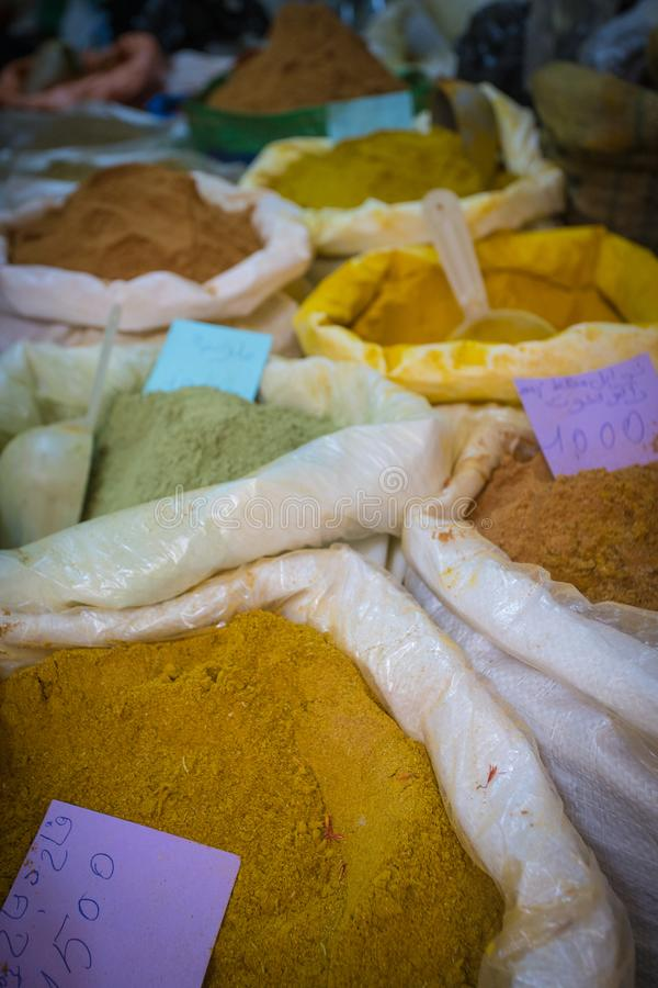 Sale of spices in a souk royalty free stock photography