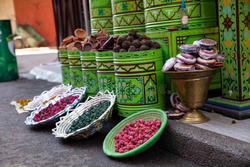 Sale of spices in a street market stock images