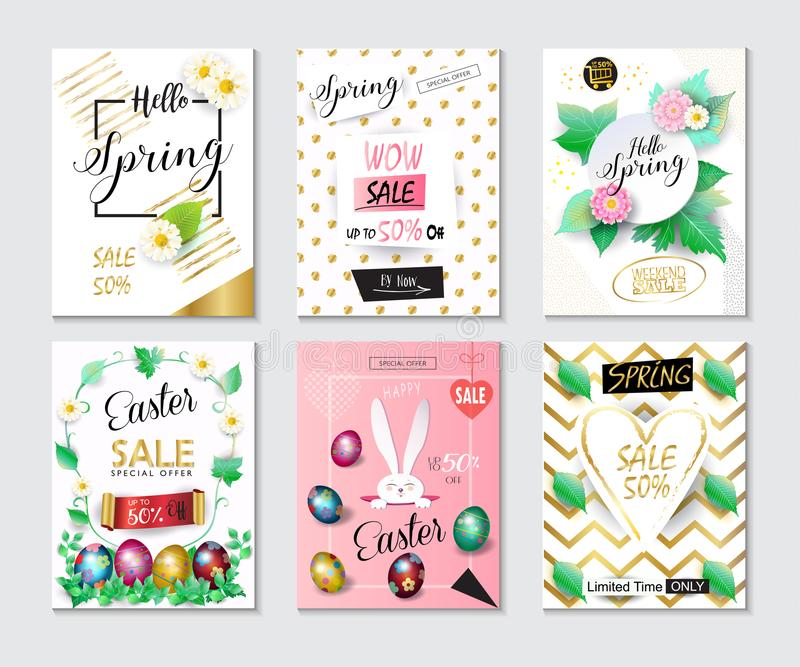 Sale Spring Easter Holiday banners set Eggs stock illustration