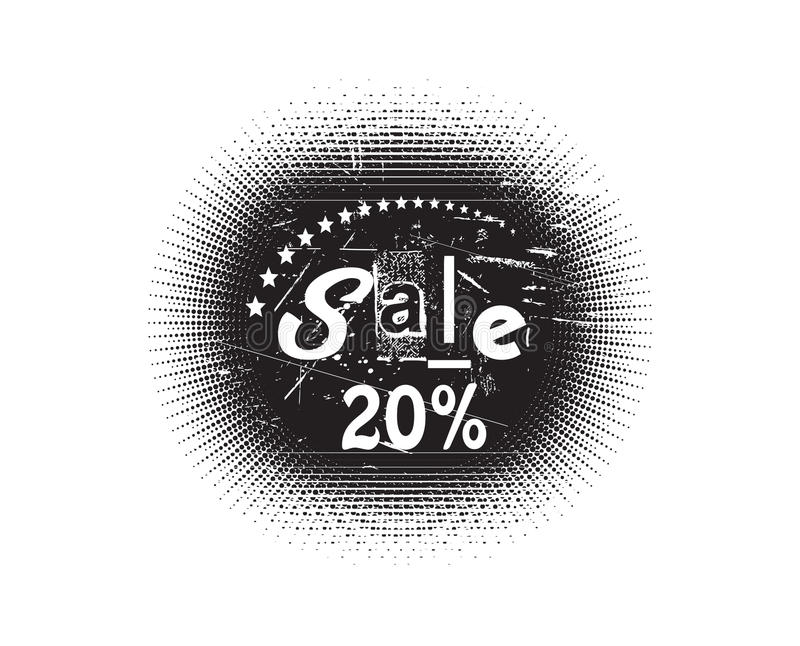 Sale stamp. Vector 20% Sale stamp with white background vector illustration