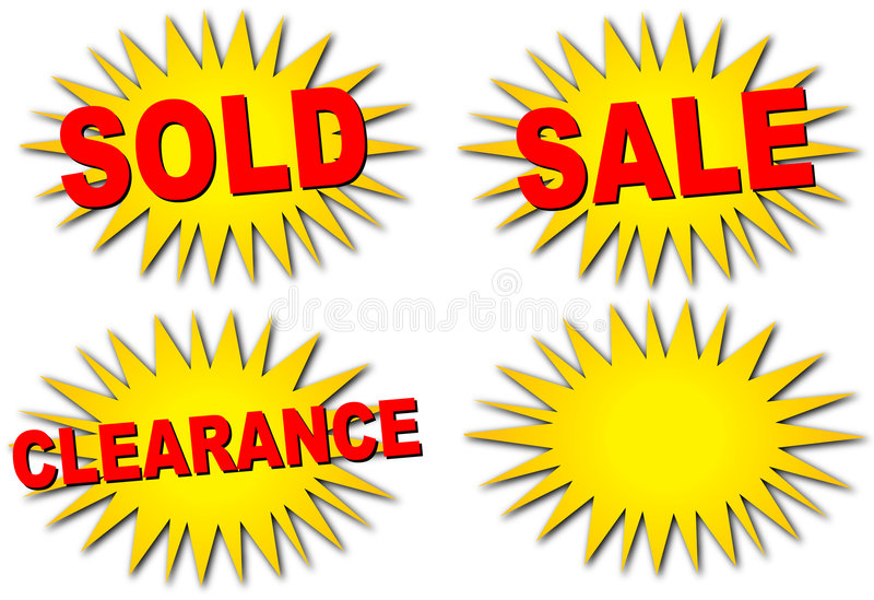 Sale Starbursts. Four different starbursts for sales, clearance items, sold items, and a blank one for anything else you might need
