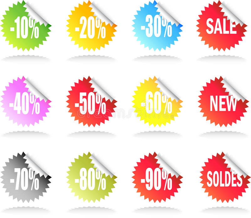 Download Sale Sticker Set stock vector. Illustration of curl, customer - 7718177