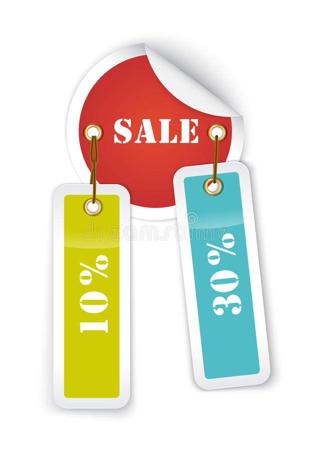 Sale sticker style sign with hanging labels stock illustration