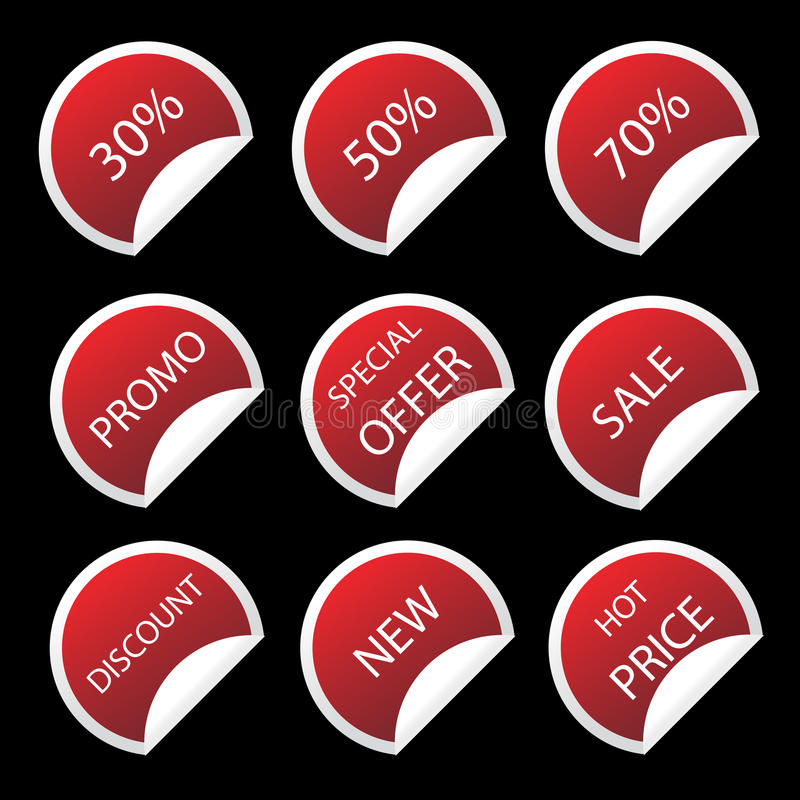 Sale stickers. Illustration of red sale stickers isolated on black.EPS file available royalty free illustration