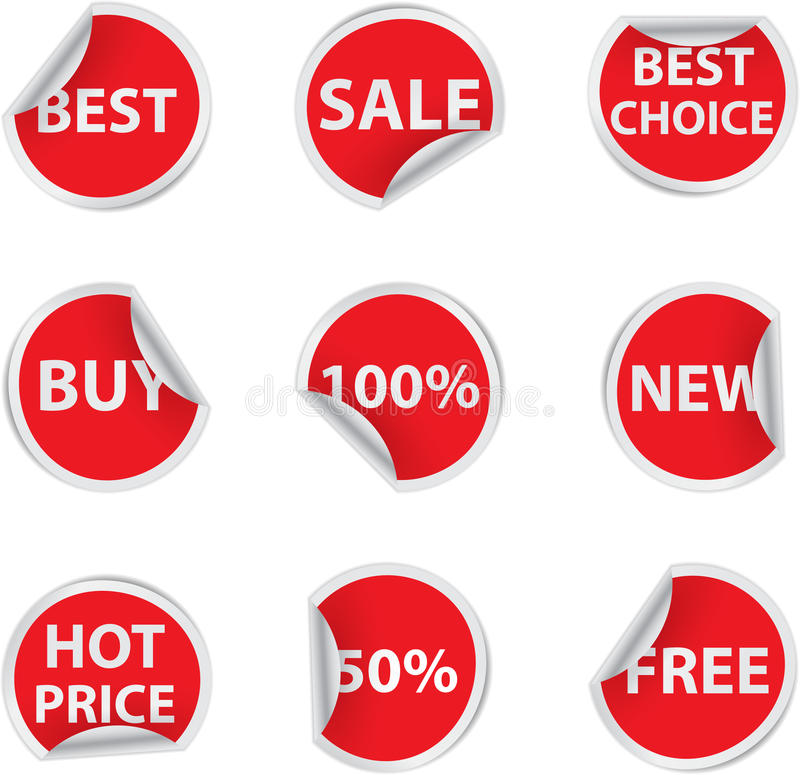 Sale stickers. Set of red discount sale stickers royalty free illustration
