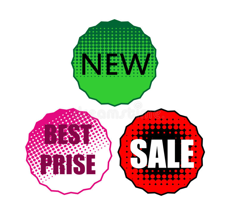 Sale stickers. Three rounded sale stickers discount vector illustration