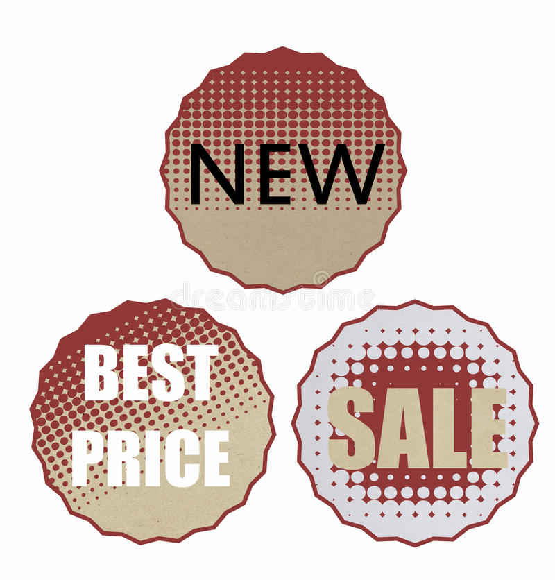 Sale stickers. Three rounded sale stickers discount with recycled paper texture stock illustration