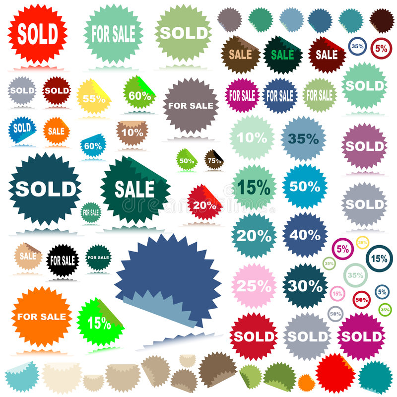 Sale stickers. With discount and reflection vector illustration